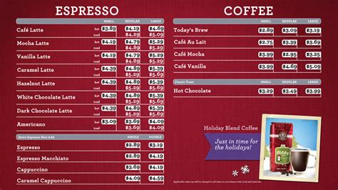 osm solutions designs holiday menu boards  coffee bean