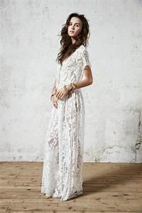 Robe Blanche Longue Boheme : belle robe longue dentelle boheme manche courte la robe longue ~ Preciouscoupons.com Idées de Décoration