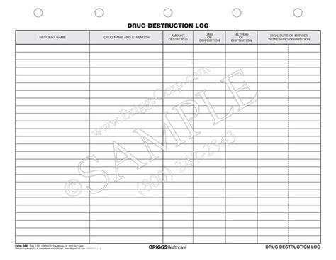 Drug Destruction Log Form