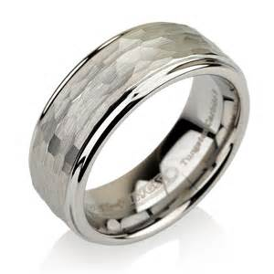 tungsten hammered wedding band unique mens hammered tungsten carbide mens by bravermanoren