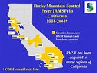 California Rocky Mountain Spotted (RMSF) in 1994-2004 Map