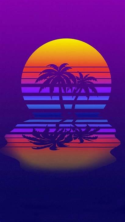 Palm Retrowave Iphone Retro Trees Wallpapers Vaporwave
