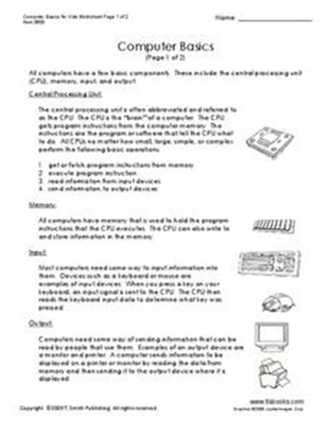 Computer Basics for Kids Worksheet Handouts & Reference