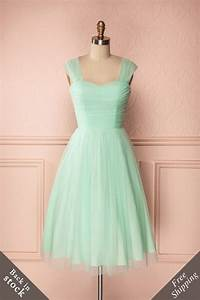skye mid length pastel mint green tulle a line dress With robe vert pastel