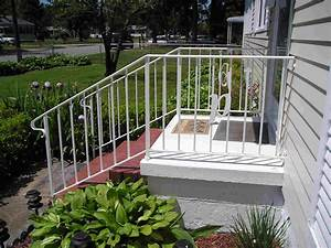 Outdoor Wrought Iron Stair Railing With Cool White Outdoor