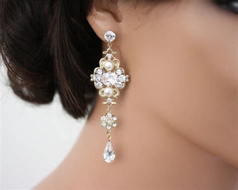 chandelier earrings gold bridal earrings swarovski white