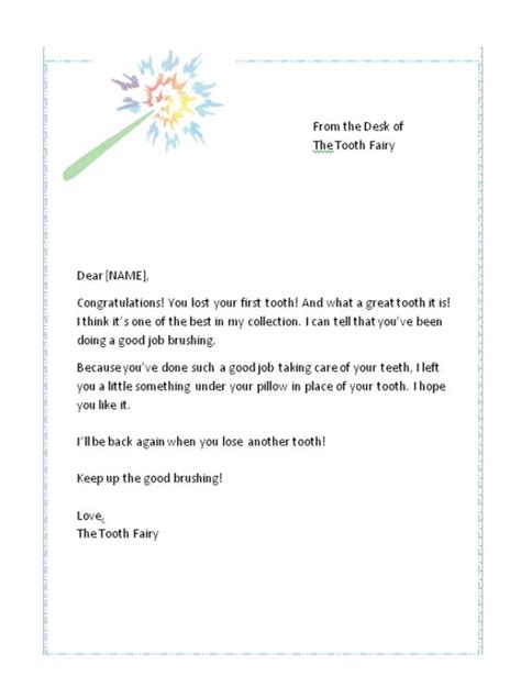 First Lost Tooth Letter From The Tooth Fairy