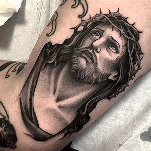 Beautiful Black and Grey Jesus Tattoos | Tattoodo