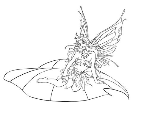 Beautiful Disney Fairies Sitting on Leaf Coloring Page