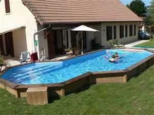 piscines semi enterrees albums photos With attractive prix liner piscine hors sol octogonale 6 piscine bois octogonale semi enterree