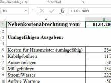 Haus Nebenkosten Berechnen : nebenkostenabrechnung muster vorlage f r excel ~ Themetempest.com Abrechnung