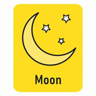 Moon Yellow Flashcard Luna Transparent Svg Amarilla