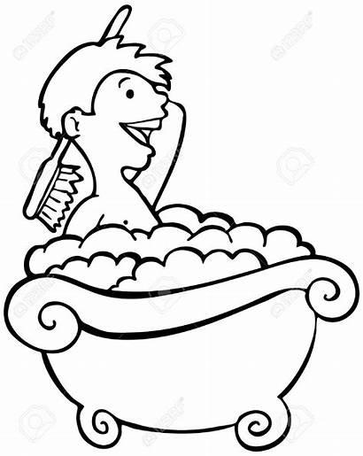 Bath Shower Clipart Taking Boy Bathing Kid