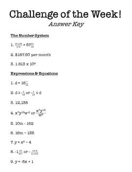8th grade math challenge of the week problems by middle