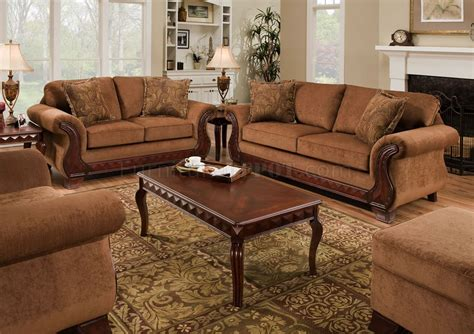 Traditional Loveseats by Tobacco Fabric Traditional Sofa Loveseat Set W Optional