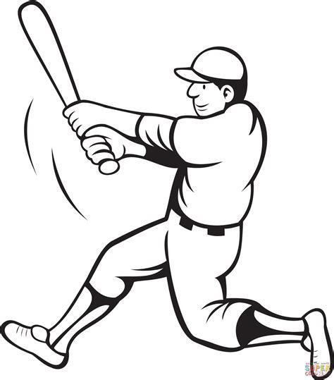 baseball batter swinging coloring page  printable