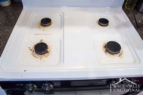 How To Really Clean A Stove Top (even All The Baked On Gunk Lowes Gas Stove Tops Wood Smoke In House French Top Whirlpool Drip Pans Gold Camping Cooking Stoves And Burners Backpacking Induction
