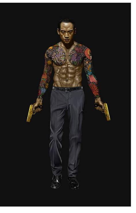 shadowrun male human asian tattoo gunslinger dark
