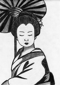 Maison Japonaise Dessin : geisha ombrelle noir et blanc chignon manga japon dessin concours fanart ponpokopon transfer ~ Melissatoandfro.com Idées de Décoration