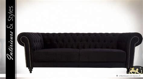 canapé style chesterfield canapé style chesterfield tissu noir finition