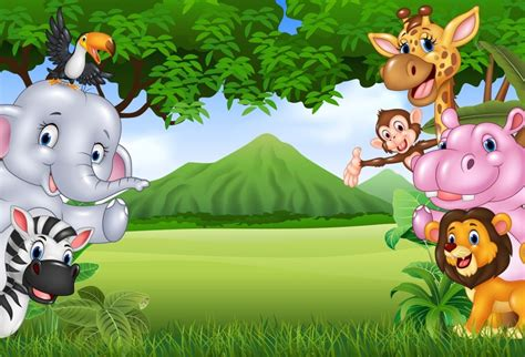 laeacco jungle party cartoon elephant deer monkey baby