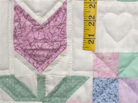 Pastel Patchwork Tulips Crib Quilt Photo 5