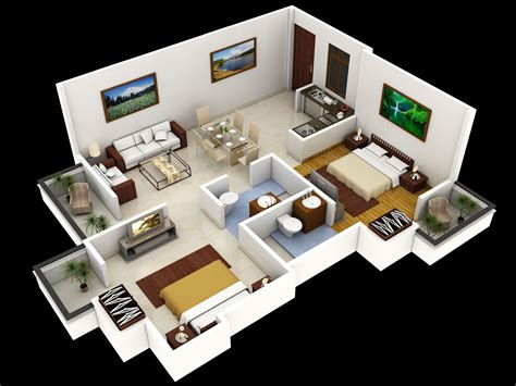 3d Small Home Floor Plans #smallhome #houseplan  This