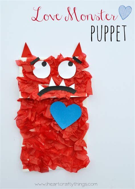 love monster paper bag puppet kids craft  heart crafty