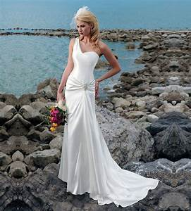 custom made vestido de noiva elegant satin sleeveless one With long beach wedding dress