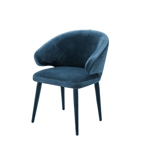 cardinale roche teal blue velvet dining chair shop