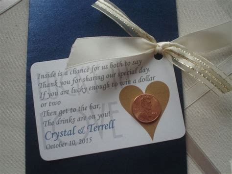 lottery wedding favor envelope with lucky penny and poem