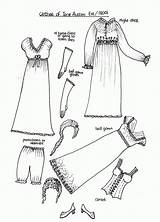 Paper Coloring Pages Dolls Austen Jane 1800s Printable Clothing Clothes Doll 1800 Pioneer American Through Eras Early Past Books Fashions sketch template
