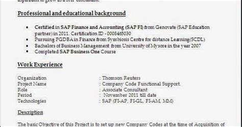Sap Mm Resume 5 Years Experience by Sap Fico Resume With 5 Years Experience
