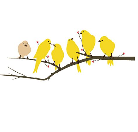 yellow birds wall decal