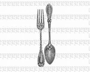 Adorned Kitchen Utensils Fork and Spoon Vintage Clip Art ...