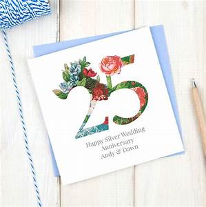Personalised Silver 25th Wedding Anniversary Card By Chi