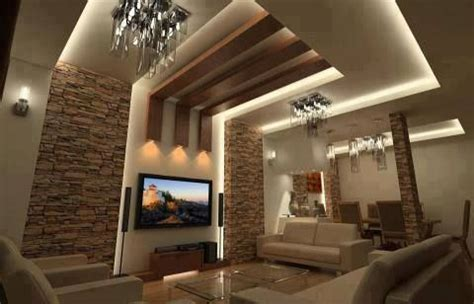 living room decorating ideas stone wall  lightning  wood  images ceiling design