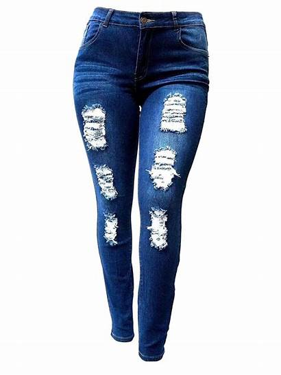 Jeans Denim Ripped Womens Pants Stretch Skinny