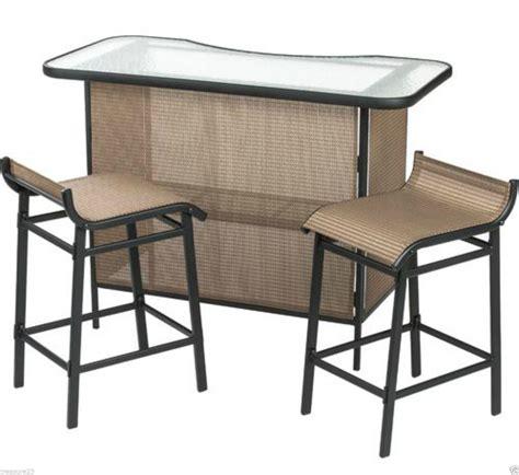 outdoor patio 3 sling bar set stools steel deck pool