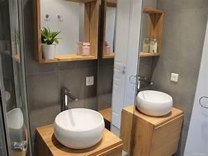 meuble salle de bain bois suspendu 13 inside cr233ation With petit meuble salle de bain bois