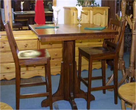 oak mission pub table and bar stool set lloyd s