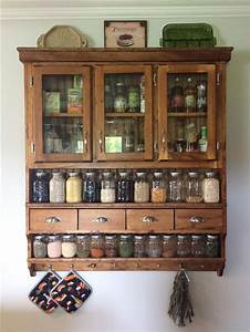 Hand Crafted Spice Cabinet  Spice Pantry  Collectors Shelf