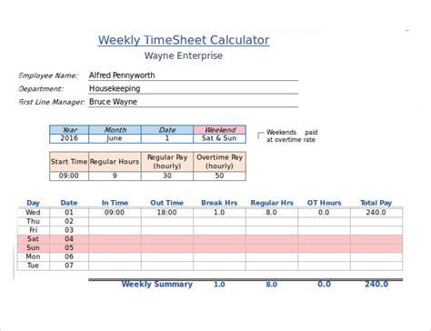 sample payroll time sheet calculator  documents