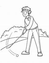 Golfer Coloring Pages Tee Template Shot Taking sketch template