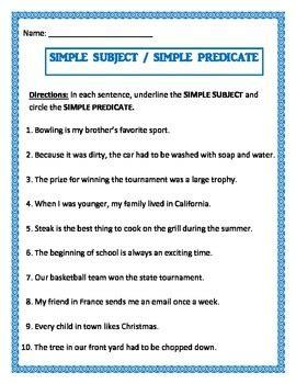 simple subject simple predicate   worksheet tpt