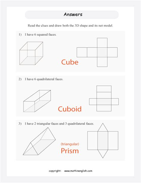 solid nets worksheet answers worksheets for all