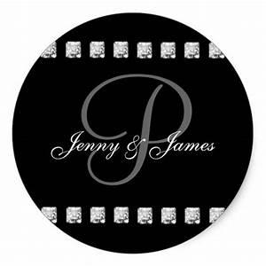 diamond letter p names wedding stickers zazzle With diamond letter stickers