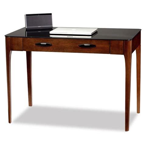 glass writing desk leick obsidian glass top writing desk in chestnut 11111
