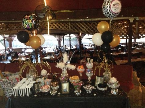 birthday candy buffet black gold  silver