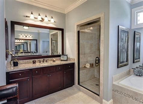 Light Grey Wall Color With Dark Brown Vanity And Stylish